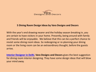 5 Dining Room Design Ideas by Vara Designs and Decors