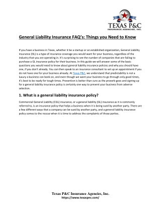 General Liability Insurance FAQ's: Things you Need to Know