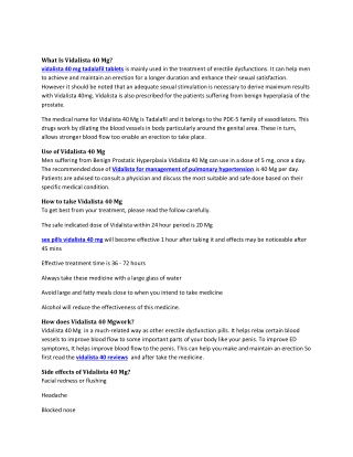 Buy Vidalista 40mg Reviews, Price, Dosage - Strapcart