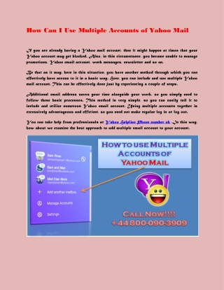 How Can I Use Multiple Accounts of Yahoo Mail