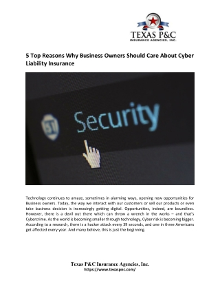 5 Top Reasons Why Business Owners Should Care About Cyber Liability Insurance