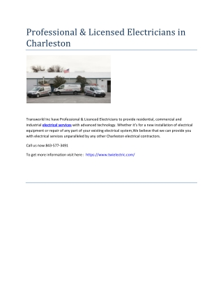 Professional & Licensed Electricians in Charleston