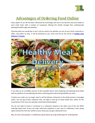 Advantages of Ordering Food Online