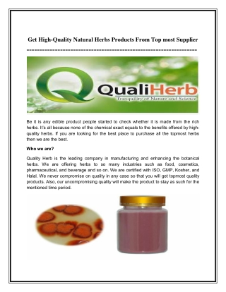 Get High-Quality Natural Herbs Products From Top most Supplier