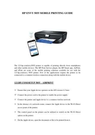 HP ENVY 5055 MOBILE PRINTING GUIDE