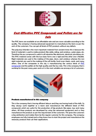 Cost-Effective PVC Compounds and Pellets are for Sale