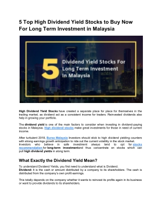 5 Top High Dividend Yield Stocks To Buy Now For Long Term Investment In Malaysia