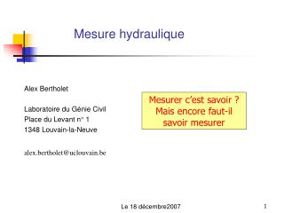 Mesure hydraulique