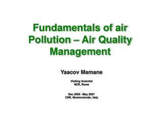 Fundamentals of air Pollution – Air Quality Management