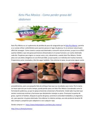 Keto Plus Mexico - Como perder grasa del abdomen