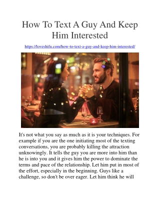 How To Text A Guy And Keep Him Interested