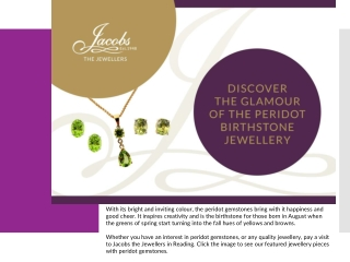Discover the Glamour of the Peridot Birthstone Jewellery