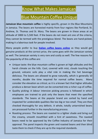 Know What Makes Jamaican Blue Mountain Coffee Unique
