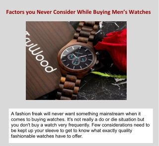Factors You Never Consider While Buying Men's Watches