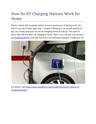 How Do EV Charging Stations Work for Home