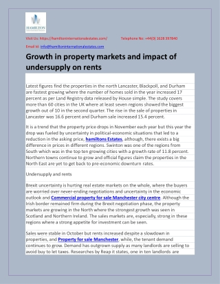 Growth in property markets and impact of undersupply on rents