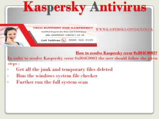 How to resolve Kaspersky error 0x804C0003?