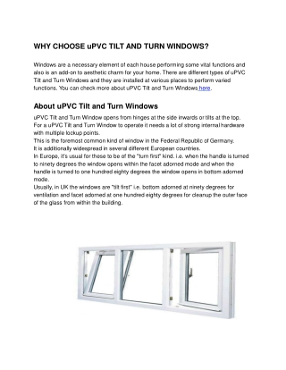 Why Choose uPVC Tilt And Turn Windows? - Usha Fenesta