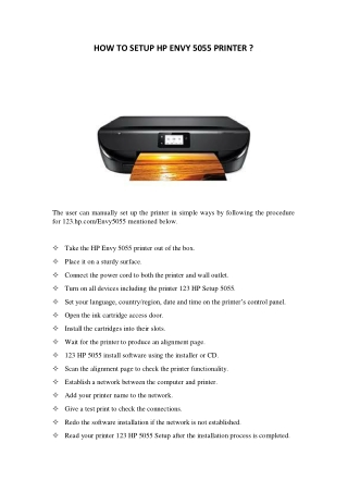 HOW TO SETUP HP ENVY 5055 PRINTER ?