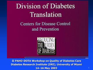 II PAHO-DOTA Workshop on Quality of Diabetes Care Diabetes Research Institute (DRI), University of Miami 14–16 May 200