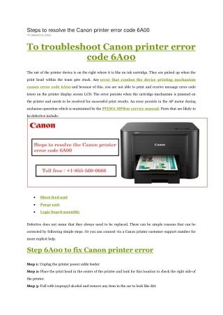 Steps to resolve the Canon printer error code 6A00