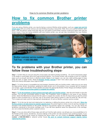 How to fix common Brother printer problems