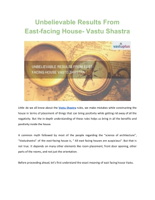 Unbelievable Results From East-facing House- Vastushastra