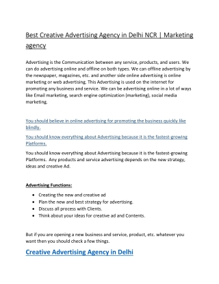 How to Find the Best Creative Advertising Agency in Delhi NCR