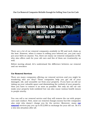 Our Car Removal Companies Reliable Enough for Selling Your Cars for Cash