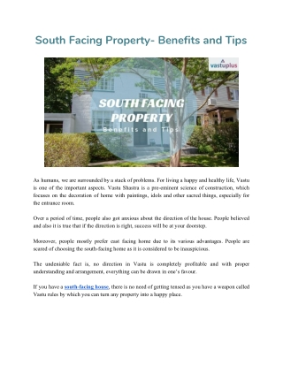 South Facing Property- Benefits and Tips