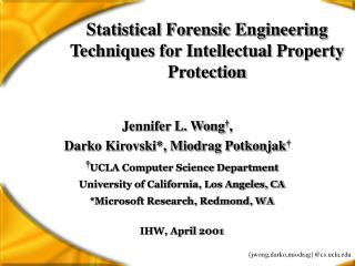 Statistical Forensic Engineering Techniques for Intellectual Property Protection