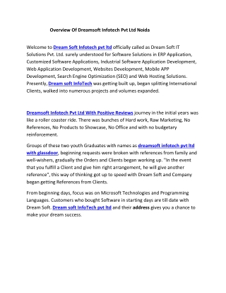 Overview Of Dreamsoft Infotech Pvt Ltd Noida