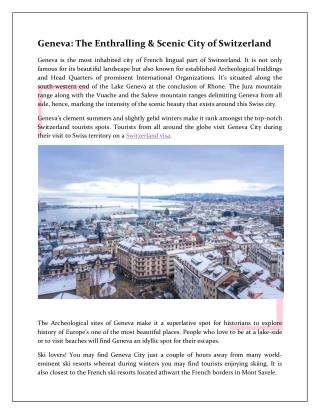 Geneva: The Enthralling & Scenic City of Switzerland