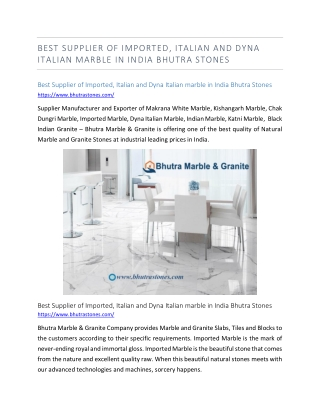 Best Supplier of Imported, Italian and Dyna Italian marble in India Bhutra Stones