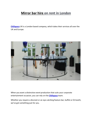 Mirror bar hire on rent in London