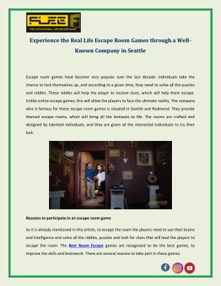 Experience the Real Life Escape Room Games through a Well-Known Company in Seattle