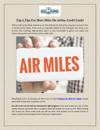 Top 6 Tips For More Miles On Airline Credit Cards!