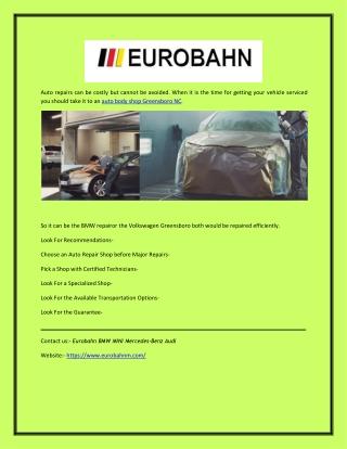 Eurobahn: BMW Repair Service at Fair Price in Greensboro, NC