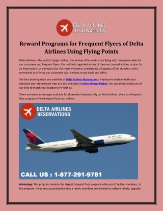 Reward Programs for Frequent Flyers of Delta Airlines Using Flying Points