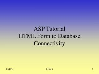 ASP Tutorial  HTML Form to Database Connectivity