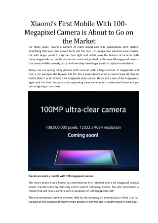 Xiaomi's First Mobile With 100-Megapixel Camera is About to Go on the Market