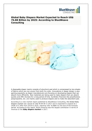Baby Diapers Market Analysis, Size, Share, Growth, Trends and Forecast To 2025