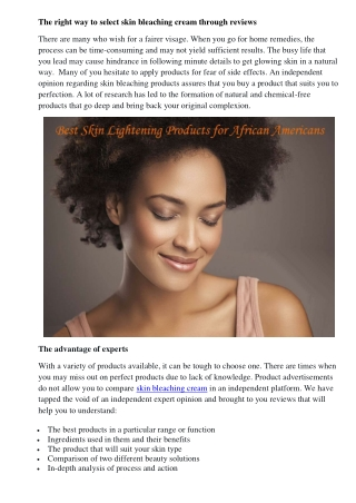 The right way to select skin bleaching cream through reviews