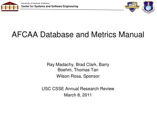 AFCAA Database and Metrics Manual