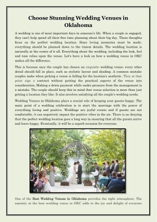 Choose Stunning Wedding Venues in Oklahoma
