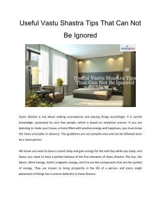 Useful Vastu Shastra Tips That Can Not Be Ignored