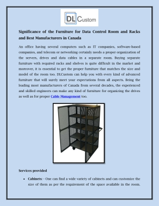 Significance of the Furniture for Data Control Room and Racks and Best Manufacturers in Canada
