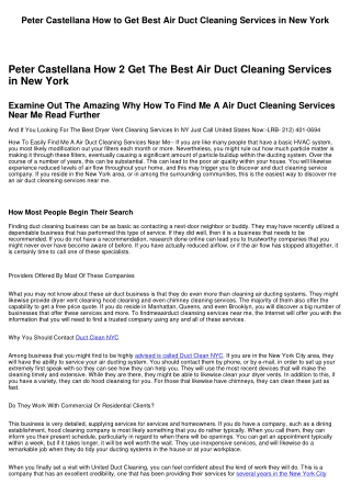Peter Castellana How to Find #1 Air Duct Cleaning Services in NY