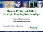 Mentor-Prot g s  Other Strategic Teaming Relationships