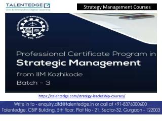 Strategic Management Courses in India